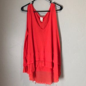 NWT We The Free Peachy Tee Lined Hot Coral Top